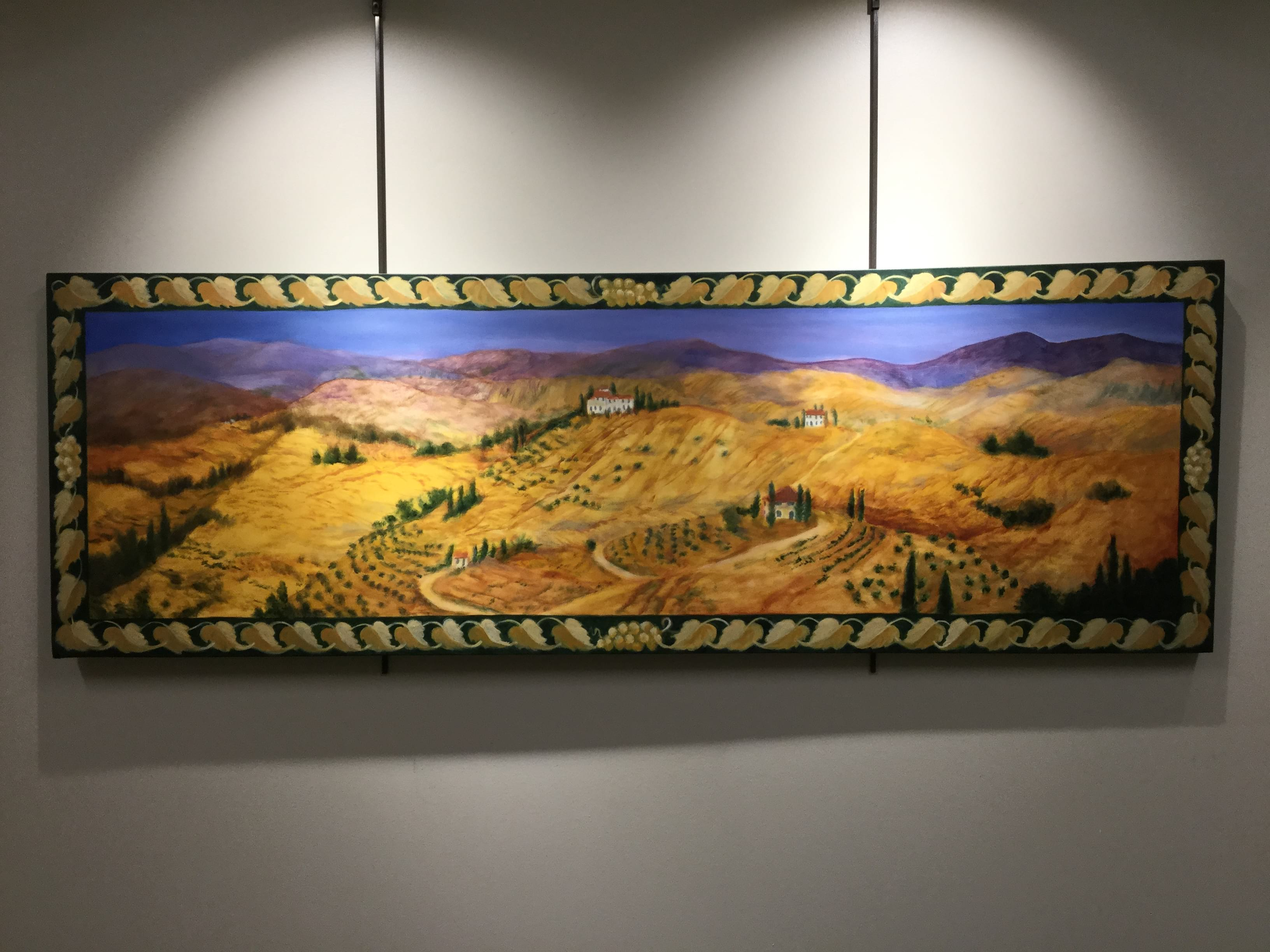 Gold landscape panorama painting
