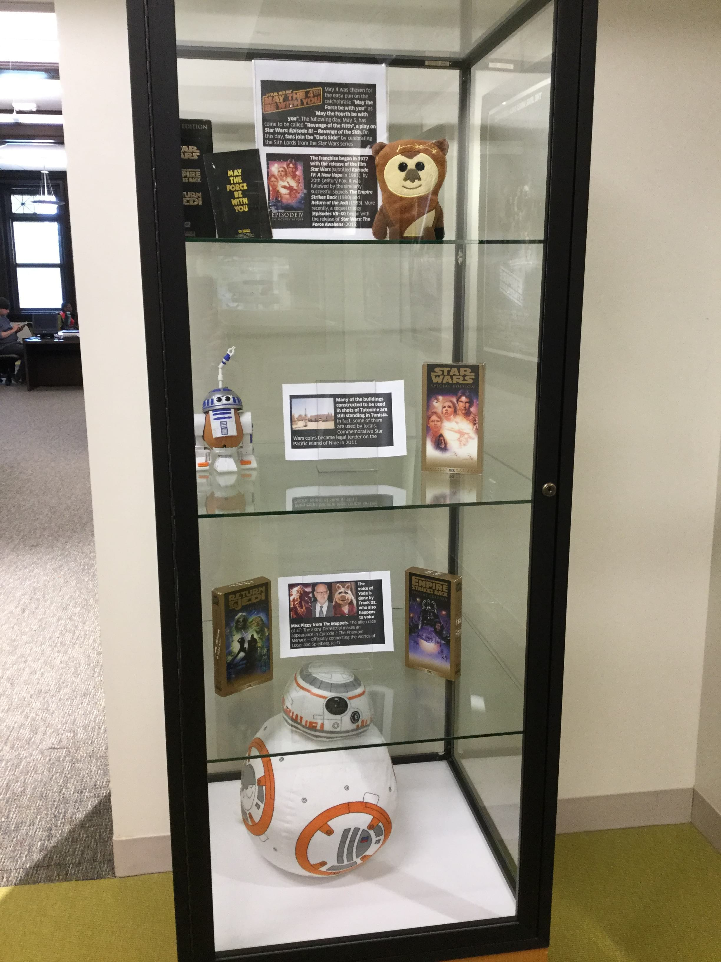 Display case with miscellaneous Star Wars paraphernalia