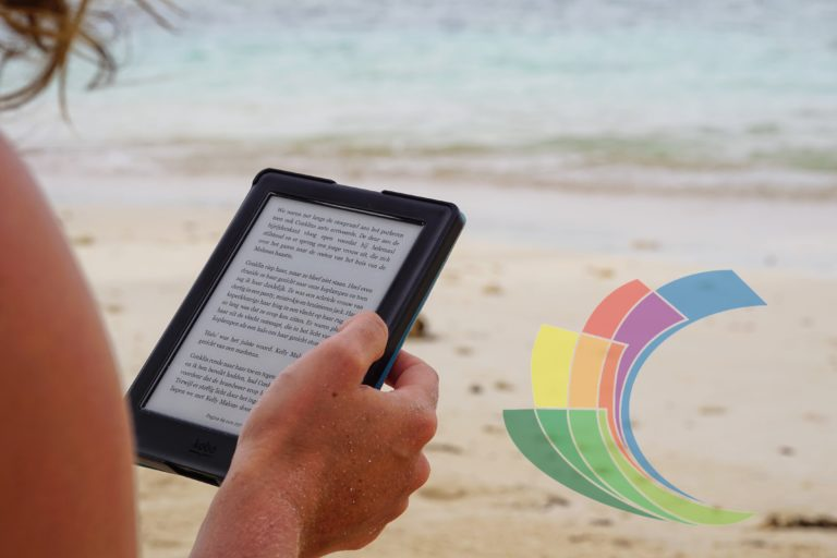 Reading ebook at the beach